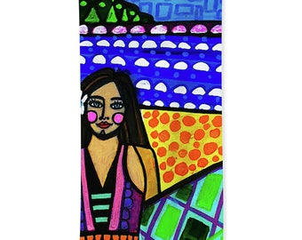 Surfer Girl Towels - Hand Towel, Bath Towel or Beach Towel -  Surfing Bathroom Decor Surf Surboard Honolulu Hawaii Artist Heather Galler