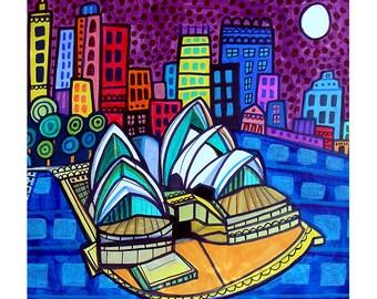Sydney Skyline art Tile Ceramic Coaster Mexican Folk Art Print of painting by Heather Galler City Australia Opera House