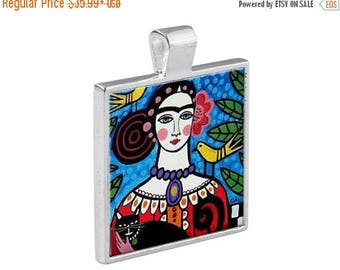 55% Off Today- Frida Kahlo Necklace Mexican Folk Art Jewelry - Pendant Metal  Gift Art Heather Galler Gift Vegan Gifts