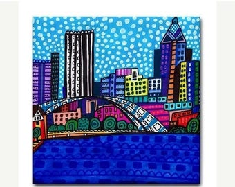 45% Off Today- Rochester Art Tile Ceramic Coaster Cityscape Abstract