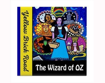 Wizard of Oz Book Lover Tile by artist Heather Galler Dorothy TIn Man Scarecrow Cowardly Lion Childrens Book L. Frank Baum
