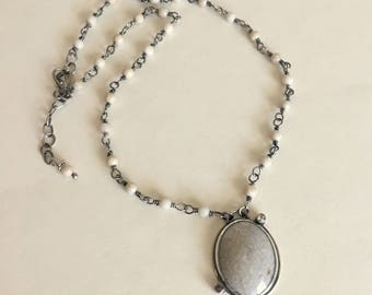 Fossil Coral Necklace- fossil coral, handmade necklace,