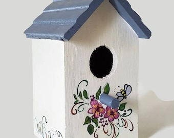 Distressed Folk Art Birdhouse Decor, White with Pink Floral Design, Country, Farmhouse,Cottage, Patio, Garden, Home Decor
