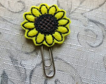 Sunflower Feltie Bookmark / Felt Paper Clip