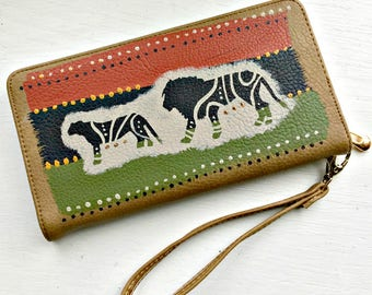 Tribal Immunity Hand Painted Wildlife Lion Booklet Zipper Wristlet Wallet