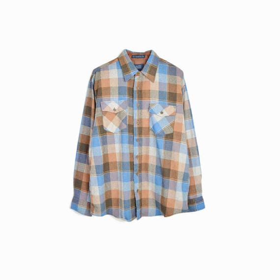 Vintage Plaid Lumberjack Shirt in Baby Blue & Brown / Wool Linen Plaid Shirt / Boyfriend Shirt - men's large