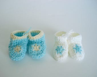 Aqua Blue and White Tan Pastel Star Booties Matching Set of 2 Great for Preemie Premature Twin Boys Little Infant Early Babies Boys