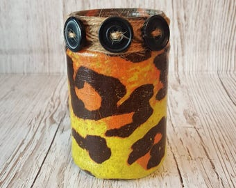 Nightlight Jar, Upcycled jar light, leopard print, Decoupage, recycled, rustic, chic, pen holder, vase, repurposed, large cat, animal print