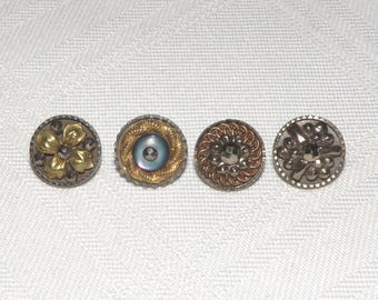 4 Extra Small Steel Cup Buttons Mix