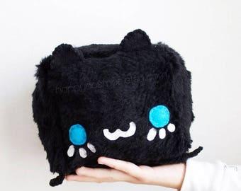 ON SALE - Black Cat Plush - Kawaii Plushie , Cute Stuffed Animal, Children Softie, Children's Toy, Decorative Pillow, Cushion, Christmas Gif