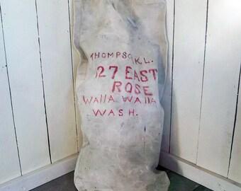 Large Vintage White Canvas Duffle Bag, Laundry Bag, Mail Bag with Walla Walla, WA Address