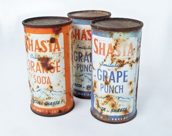 Bundle of Three Old Shasta Soda Cans - Orange Soda & Grape Punch