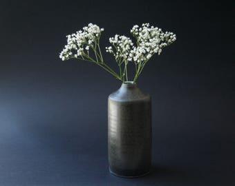 Small wheel thrown vase in Satin black-bronze