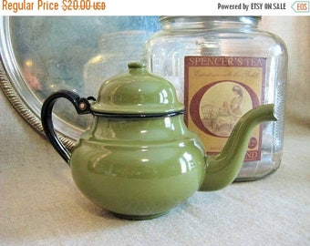 Never Forget Vintage Avocado Green Enamelware Tea Kettle  / Shabby Retro Green and Black Teapot / Little Green Tea Kettle / Watering Can