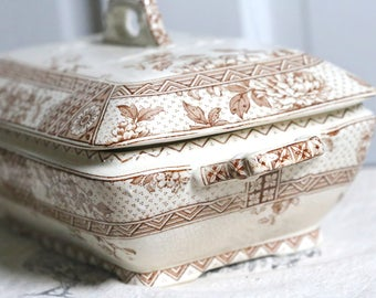 Brown ironstone English transferware
