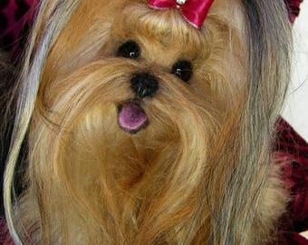 YORKIE~~ Yorkshire Terrier~ Lifelike Soft Sculpture ~ Memorial ~ Pet Urn ~ Art ~ Dog Collectible