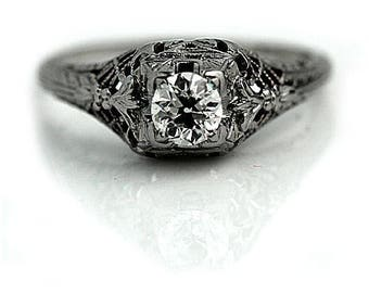 Antique Engagement Ring Art Deco Diamond Engagement Ring .25ctw Solitaire 18K White Gold Antique Filigree Ring Vintage Deco Engagement Ring!