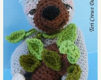 Summer Sale Crochet Pattern Sloth by Teri Crews Instant Download PDF Format Crochet Toy Pattern
