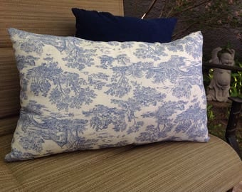 Handmade blue and white rectangular toille throw pillow