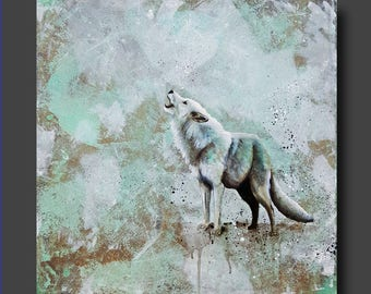 Simplicity Series - Wolf Painting - Abstract Wolf - Watercolor Art - Modern Contemporary Painting by Britt Hallowell
