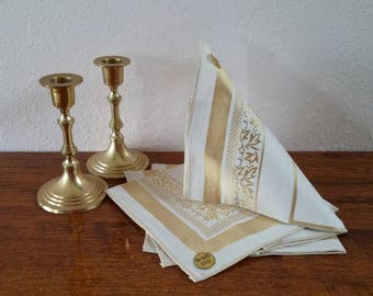 Fine Dining Linens, Japanese Toyobo Napkins, Gold and Cream FREE SHIPPING