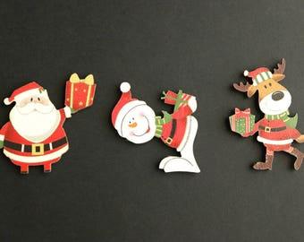 Holiday Flat Backs Cutouts. Set of Three. Scrapbooking Cut Outs. Wood Embellishments. Wood Cut Outs. Christmas Scrapbook Decorations.