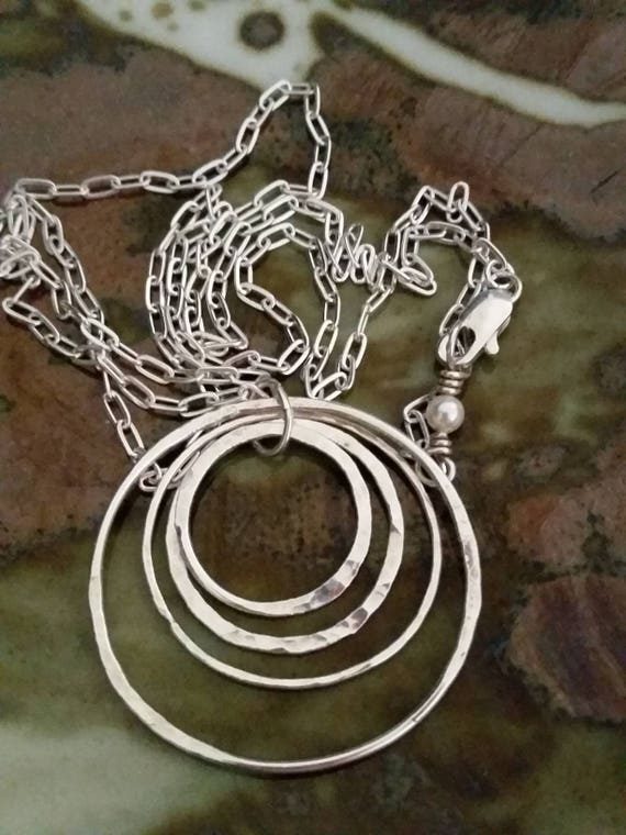 Fine Silver circle, fused, necklace, textured, multi size rings, round, four, silver circles
