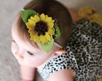 Felt Flower Headband or Alligator Clip // Sunflower Baby Accessories, giddyupandgrow