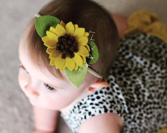 Featured listing image: Single Flower Headband or Alligator Clip // Sunflower, Fall Felt Flower