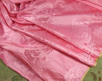 1/2 yard Rare antique edwardian pure silk brocade woven pink satin rose florals gorgeous pattern lush pink 1920s material