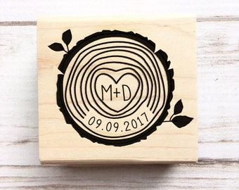 Wedding Stamp Wood Slice Initials and Date - Woodsy Wedding Tree Rings Save the Dates