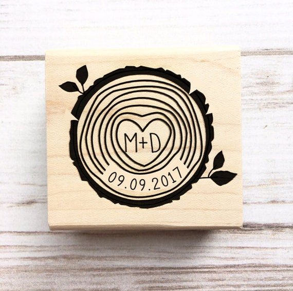 Wedding Stamp Wood Slice Initials and Date