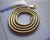 """18"""" Snake Chain, Yellow Gold Plated Brass, 3mm Thick, Made in U.S.A., Sinuous Necklace, Unseamed Snake Chain, Beautiful Necklace, Jewelry"""