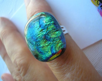 Statement Ring Blue Green Shimmer Adjustable Band Dichroic Fused Glass Sterling Plated Big Oval Ring Underwater Colors Green Jewelry Dichro