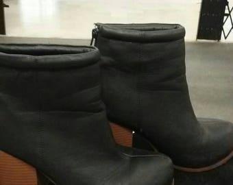 vintage short leather boots/ box heels.