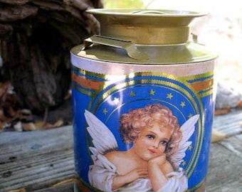Sweet Victoriana Angel Tin Canister Circa The 1980s