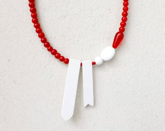 red white minimalist necklace , geometric ribbon contemporary jewelry