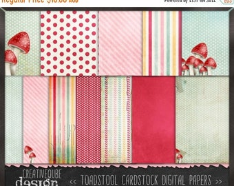 90% OFF Sale Digital paper, Digital Scrapbook paper pack - Instant download - 12 Digital Papers - Toadstool Shabby Chic