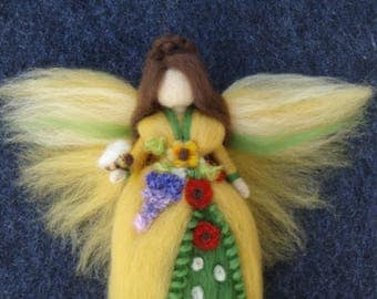 Reserved for Carina SUMMER FLOWER FAIRY Needle Felted Wool Doll
