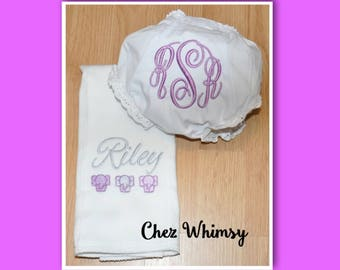 Monogrammed Burp Cloth and Bloomer Set, Elephant Burp Cloth, Personalized Baby Bloomer, Gift for Baby, New Baby Gift Set