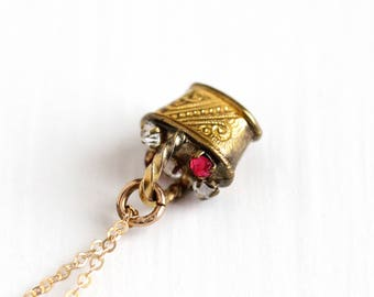 Antique Petite Victorian Red & White Rose Cut Paste Basket Charm Necklace - Vintage Yellow Washed Tiny Fob Pendant Jewelry on 14k GF Chain