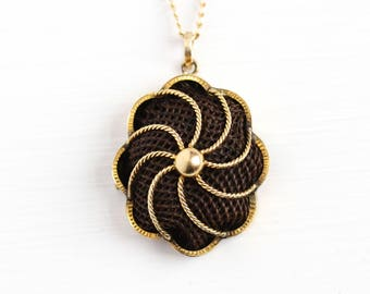 Victorian Hair Pendant - Antique 14k Rosy Yellow Gold Human Hair Necklace - Victorian 1890s Mourning Sentimental Pinwheel Pendant Jewelry