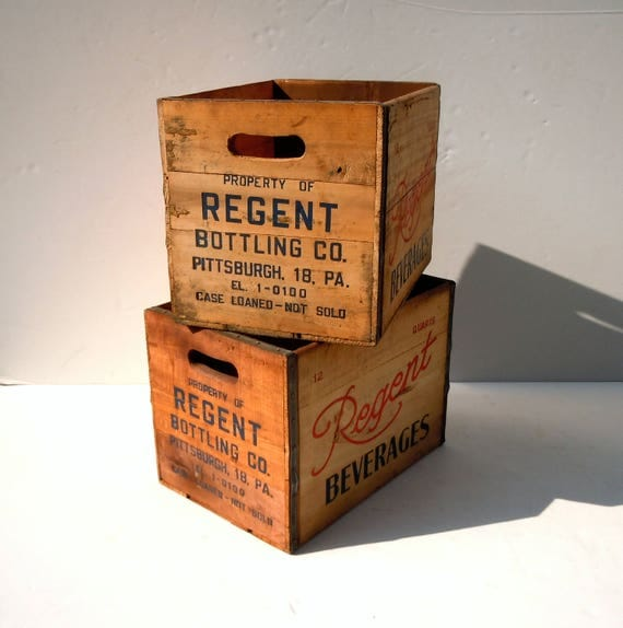 Vintage Wood Beverage Crates / Set of 2 Crates / Regent Bottling Co Pittsburgh PA / Wood Storage Crates / Advertising Wood Crates / Clean