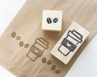 Cute coffee cup coffee bean stamp/ rubber stamp/ handmade stamp/ drawing stamp/ crafting/ whimsical/ fun stamps/ ice blended/ frappucino