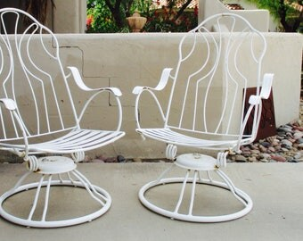 Homecrest Swivel Rocker Patio Chair With Cushions - A Pair Mid Century Modern Eames Era Bertoia PATIO furniture Brown Jordan