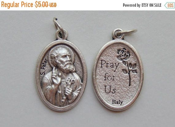 CLOSING SALE 5 Patron Saint Medal Findings, S. Peter, Die Cast Silverplate, Silver Color, Oxidized Metal, Made in Italy, Charm, Drop, Religi