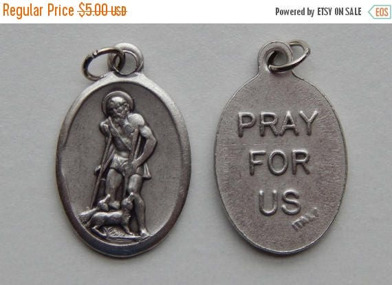 CLOSING SALE 5 Patron Saint Medal Findings - St. Lazarus, Die Cast Silverplate, Silver Color, Oxidized Metal, Made in Italy, Charm, Drop, RM