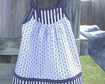 Stars and Stripes White and Navy Blue Toddler Girl, Baby Girl, Little Girl Dress.