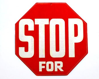 Red and White Cardboard Stop Sign