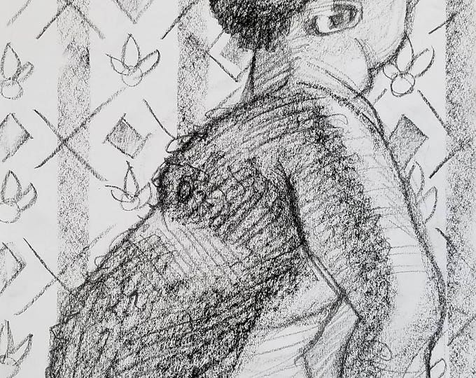Bear Belly, 9x12 inches crayon on paper by Kenney Mencher